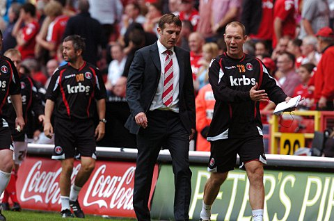 News Shopper: Phil Parkinson and Tim Breacker during their time in charge at The Valley
