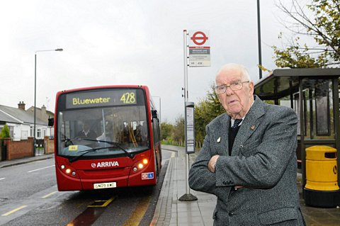 Harry Price at the stop in Moat Lane, Slade Green.