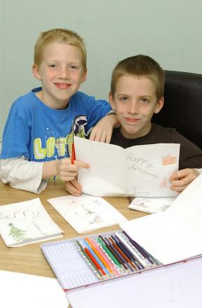 Ben Hurst, 10, and Joe Hurst, eight, design their cards