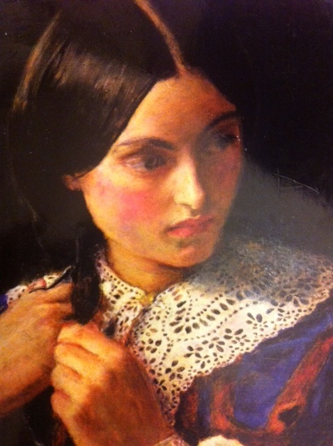 'Jane Eyre' by Charlotte Bronte, Cover: Detail from 'Only a lock of hair' (c.1857-8) by Sir John Everett Millais