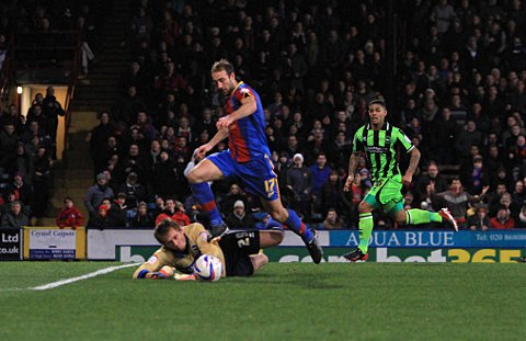 Glenn Murray is fouled by Tomasz Kuszczak as Palace win their first spot kick