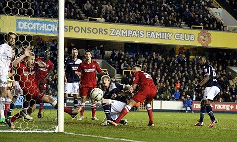 News Shopper: Chris Solly clears Dany N'Guessan's header off the line. PICTURE BY EDMUND BOYDEN.