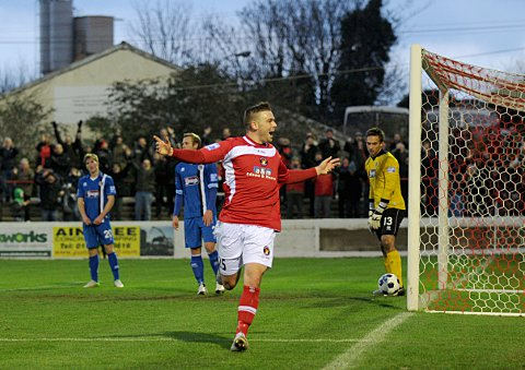 Matt Godden celebrates his equaliser