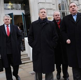 Devolved administration leaders Carwyn Jones, Peter Robinson, Martin McGuinness and Alex Salmond have called for economic stimulus
