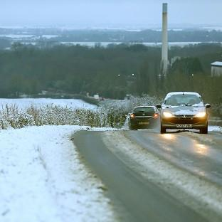 News Shopper: Motorists make their way through the snow at Barrington in Cambridgeshire