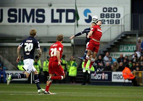 Yann Kermorgant and Shane Lowry battle for a header at The Den. PICTURE BY EDMUND BOYDEN.