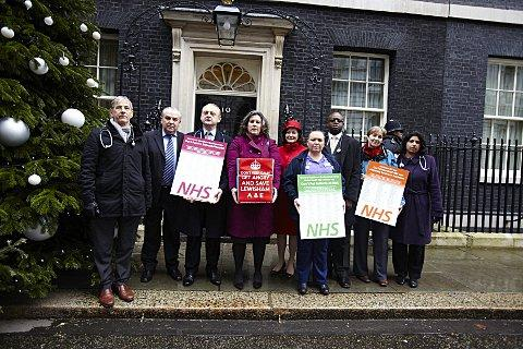News Shopper: Lewisham Hospital closure petitions handed in at Downing Street