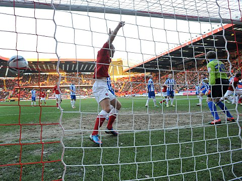 Wilson's header hits the back of the net to the delight of Michael Morrison