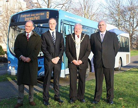 KCC's David Brazier, James Moody, Mayor of Swanscombe and Greenhithe Vic Openshaw and local operations manager for Arriva Alan Hale