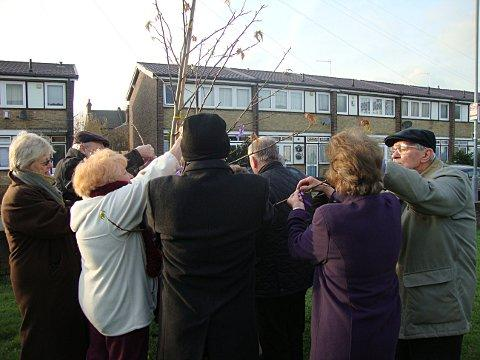 A memorial service and tree planting for 19 victims of a Second World War rocket attack in Sunfields Place