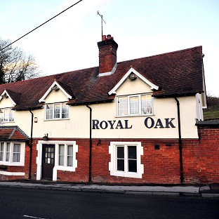 The Royal Oak pub in Shrewton where Malcolm Levesconte is said to have left for France following the theft of nearly 30,000 pounds