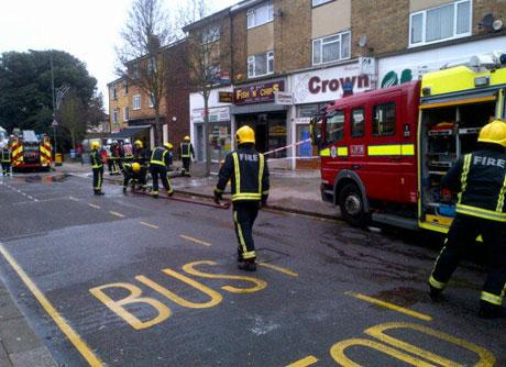 The scene of a fire at Mr Man's Fish 'n' Chips in Nuxley Road, Belvedere