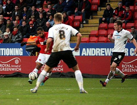 Danny Haynes scored a great goal against Derby (above) just after Christmas but he believes last night's at Leicester was even better because Charlton secured a vital win. PICTURE BY EDMUND BOYDEN.