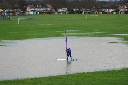 News Shopper: The scene in 2012 when torrential rain turned Penhill Park, Sidcup, into a windsurfing lake - or was it a pond?