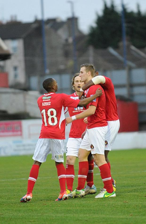 Tom Phipp is congratulated after putting Ebbsfleet in front