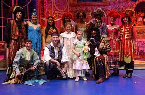 Nikkita with the cast of Peter Pan at the Churchill Theatre, Bromley.