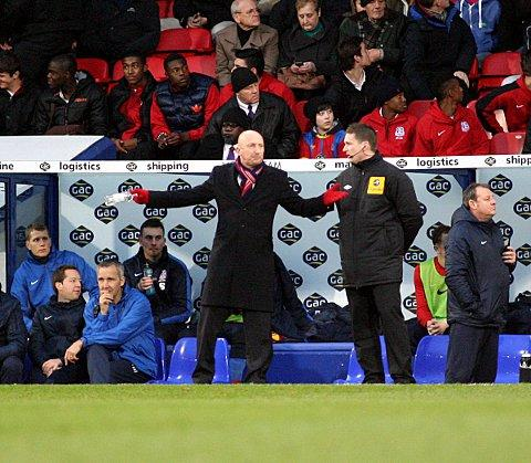 Ian Holloway makes his frustration clear to the fourth official. PICTURES BY EDMUND BOYDEN.