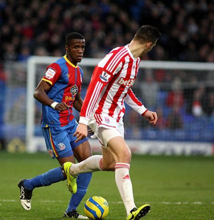 Wilfried Zaha goes on the attack against Stoke on Saturday. PICTURE BY EDMUND BOYDEN.
