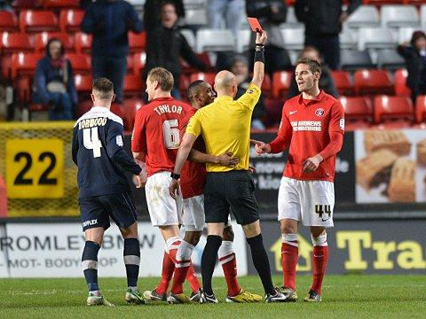 Dorian Dervite is sent off. PICTURE BY KEITH GILLARD.