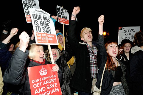 Protestors outside Goldsmiths before Question Time last year