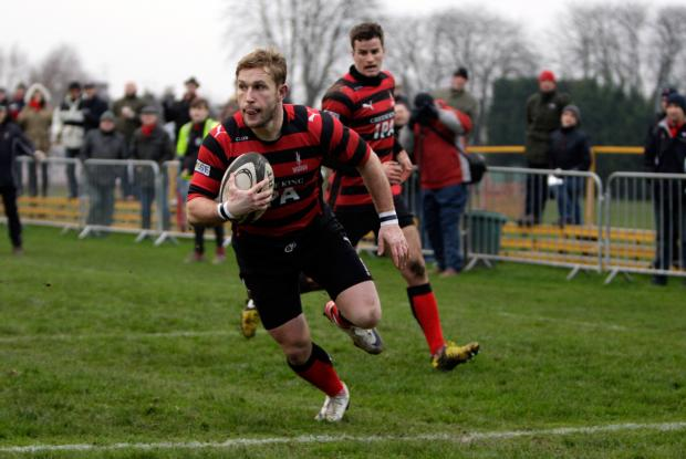 Dave Bonner scores Blackheath's first try.  Photo: Helen Watson