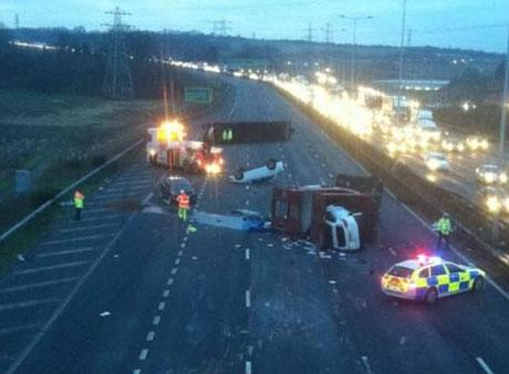 News Shopper: The scene after a car transporter overturned on the A2 near Gravesend. Picture by Dave Goodyear, @goodyhammer via Twitter