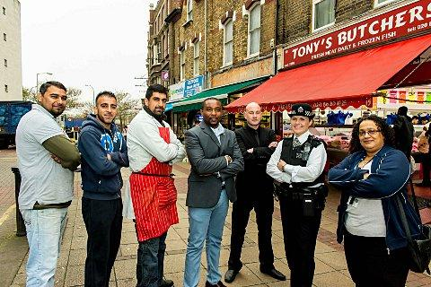 Catford businesses signed up to the scheme include Tesco Supermarket, Tony's Butchers, SWA Fish & Meat Shop, H&S Fish Market, pictured with Sgt Michelle Pryal.