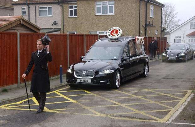 The funeral procession for Colin Cameron arrives at Old Lady of the Rosary Church, Sidcup