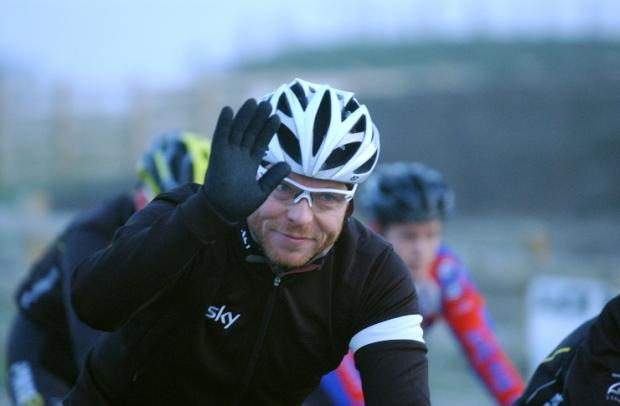 Cycling legend Sir Chris Hoy waves for the camera in Gravesend