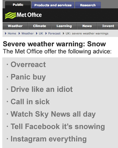 Fake Met Office advice