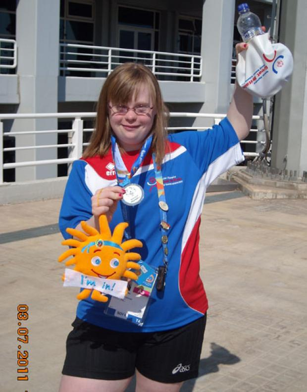News Shopper: Laura Mitchell, after winning a silver medal in the 4x50 freestyle relay at the Special Olympics World Games in Athens in 2011.