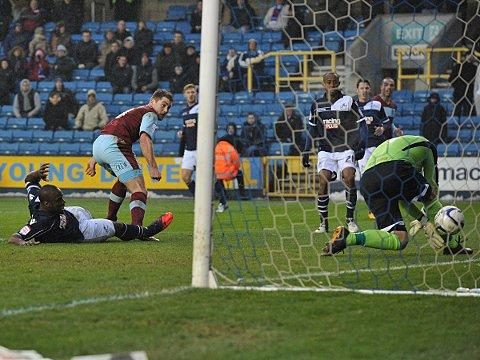David Forde has a moment to forget as Sam Vokes fires Burnley in front. PICTURE BY KEITH GILLARD.