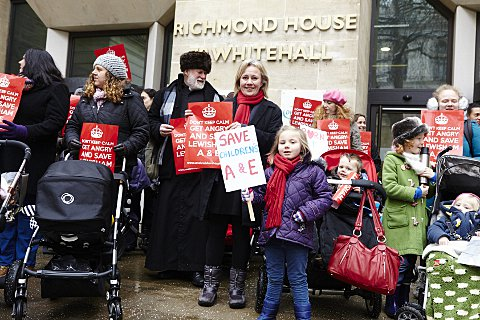 Lewisham Hospital: Mums and buggies blockade Department of Health (pic by Simon Way)
