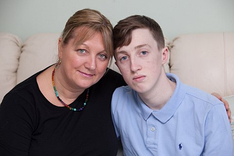 Maria Thurston pictured with son Ryan, 16, who died from a malignant melanoma