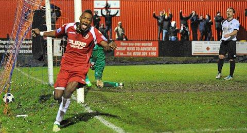 Kiernan Hughes-Mason celebrates scoring the fourth and final Welling goal. PICTURE BY DAVE BUDDEN.