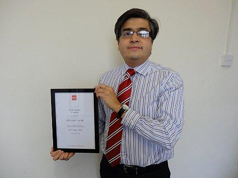 SSJ Accountants Shaif Uddin with the prestigious award.