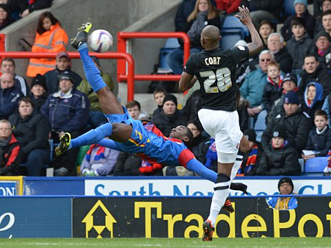 Yannick Bolasie attempts an ovehead kick