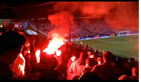 A lit flare at the Crystal Palace v Charlton match.