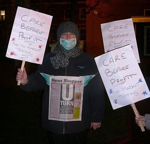 Kathy Beddon wears News Shopper in protest