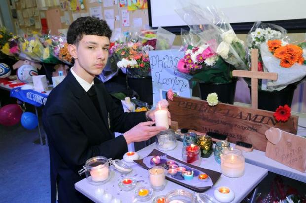 Miljan Scekic next to the tributes inside Bexleyheath Academy to 'the best friend you could have asked for'