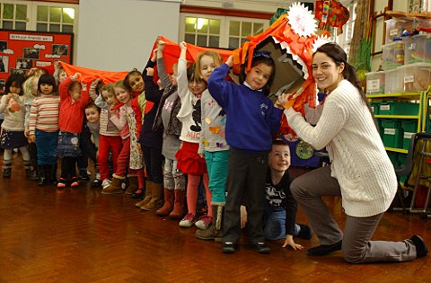 Hawes Down Infant School children welcome in Chinese New Year