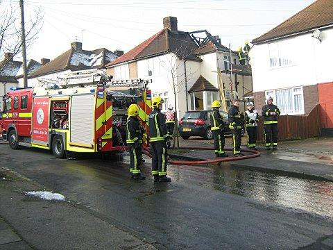 The roof of the house in Elmstead Avenue was completely destroyed in the fire.
