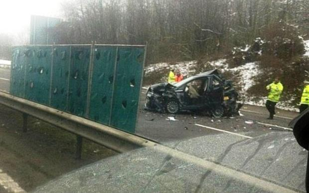 Scene of pile-up on the M25 near Orpington. Pic taken by @sammynicks007