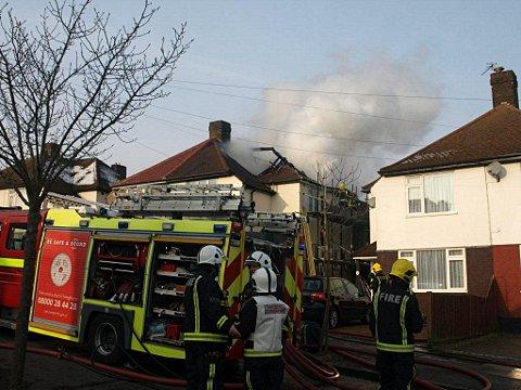 The house fire in Elmstead Avenue, Chislehurst, this morning.