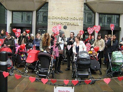 Around 150 mums and babies protest outside Department of Health