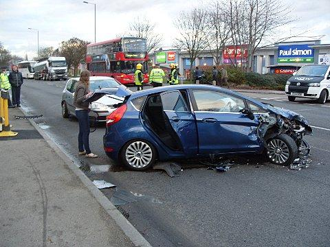 The blue Ford Fiesta was badly damaged in the first crash