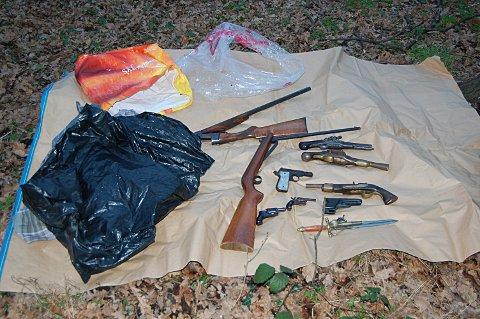 Handguns and loaded shotgun amongst weapons found in bush in Downham