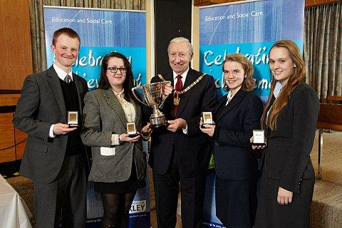 Chislehurst and Sidcup Grammar School team members, Ben Hackett, Alex Field, Mabel Chambers and Rebecca Hunt. receiving their awards from the Mayor of Bexley