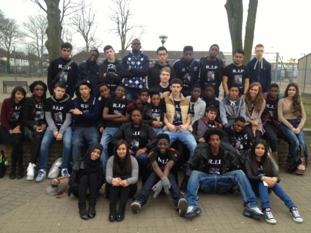 Bexleyheath Academy students moments after being told they had raised £3,000