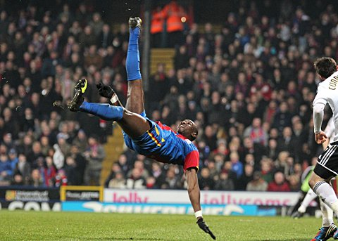 News Shopper: Yannick Bolasie tries a stunning overhead kick which hit the woodwork